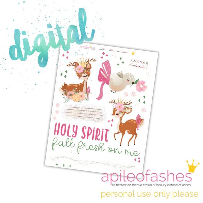 Holy Spirit Printable Bible Journaling, Margin Stickers, Bookmarks, Sticker  Printable