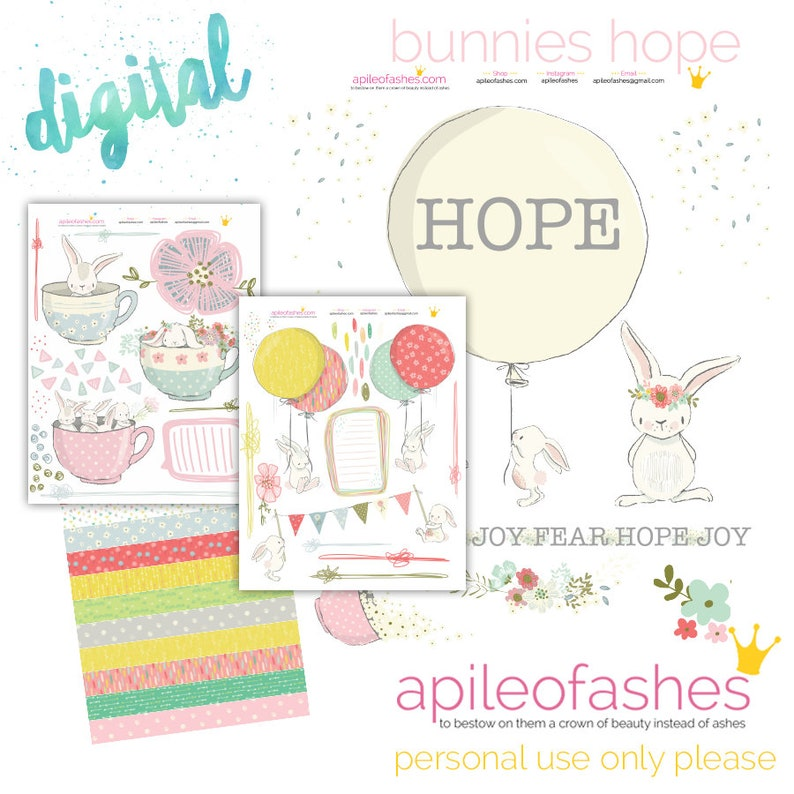 Bunnies Hope Printable Bible Journaling Margin Stickers image 0