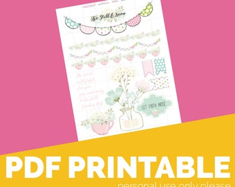 Be Still Printable, Digital Bible Journaling, Margin Stickers, Bookmarks, Sticker Printable