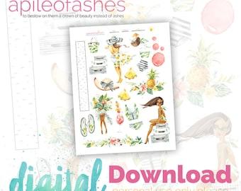 Summer Travel Girls Bible Journaling Printable, Margin Stickers, Bookmarks, Sticker Printable