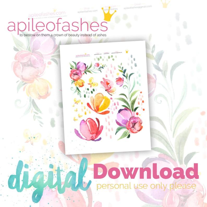 Springtime Flowers Digital Bible Journaling Margin Stickers image 0