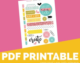 Pink Create Printable Bible Journaling, Margin Stickers, Bookmarks, Sticker Printable