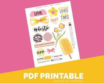 Bestie Printable Bible Journaling, Margin Stickers, Bookmarks, Sticker Printable