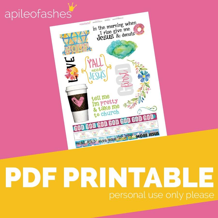 Yall Need Jesus Printable Bible Journaling Margin Stickers | Etsy
