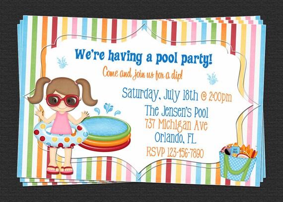 Custom Pool Swim Party Birthday Invitations DIY Printable