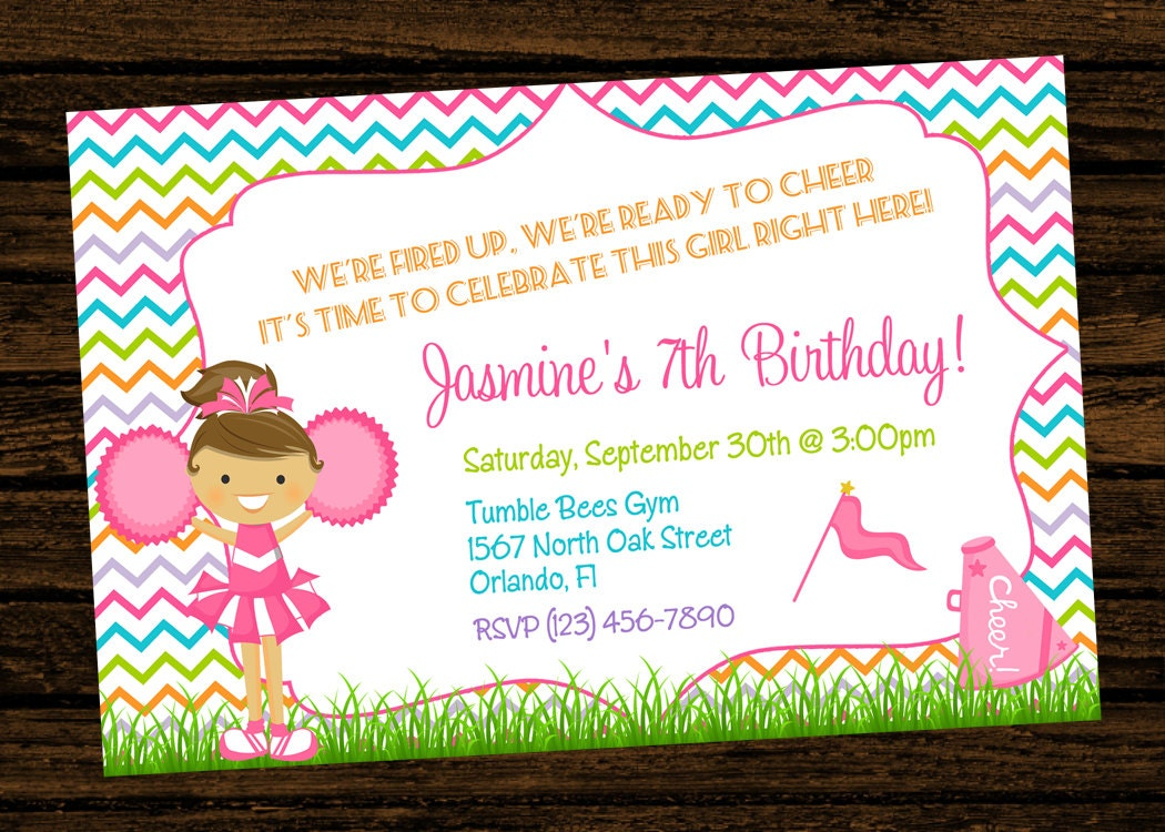 Custom Cheer Cheerleading Party Birthday Invitations Diy Etsy