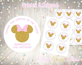 Minnie Mouse // Gold Glitter // Birthday Stickers // Choice of Size // Labels // Personalized // Printed & Shipped