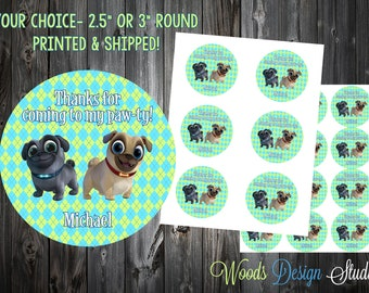 Puppy Dog Pals // Birthday Stickers // Choice of Size // Labels // Choice of Design // Personalized // Printed & Shipped