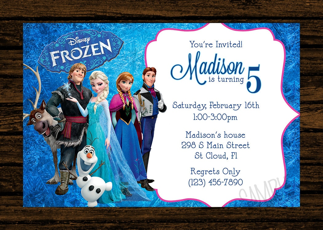 Custom Frozen Birthday Party Invitations Diy Printable File Etsy