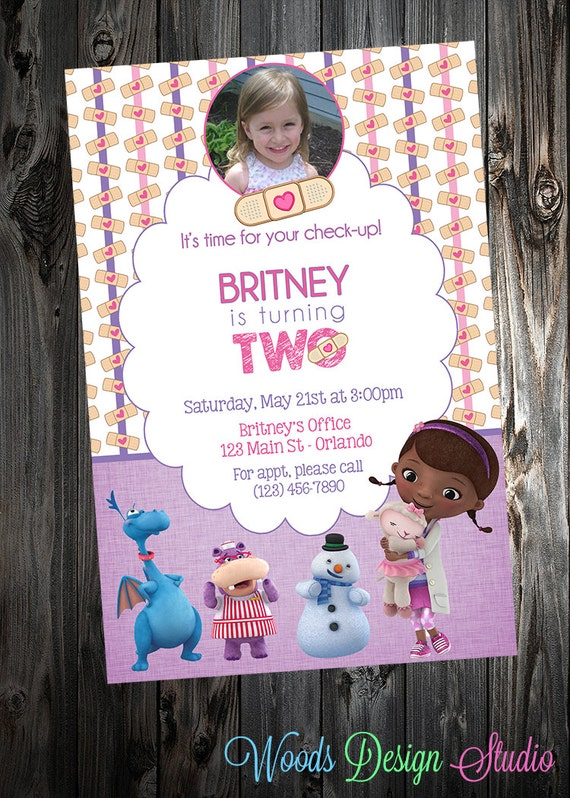 Custom Doc McStuffins Birthday Party Invitations W Free Thank
