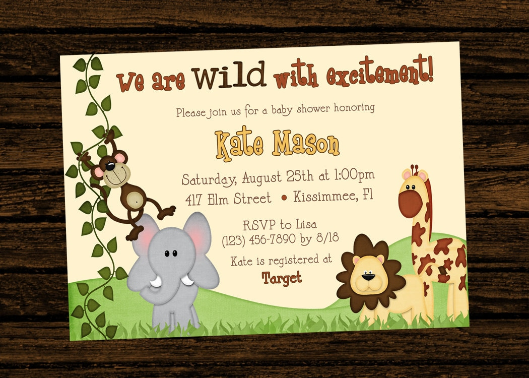 Custom Baby Shower Jungle Themed Birthday Party Invitations | Etsy