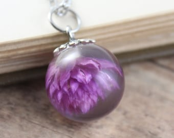 Small Purple Gomphrena Necklace