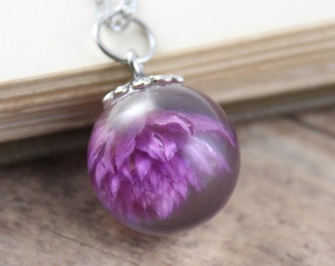 Small Purple Gomphrena Necklace