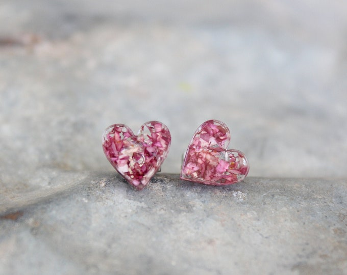 Small Pink Hearts Stud Earrings