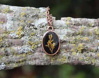 Copper Goldenrod Dainty Oval Necklace