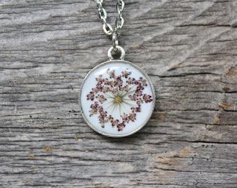 Purple Queen Anne's Lace Necklace