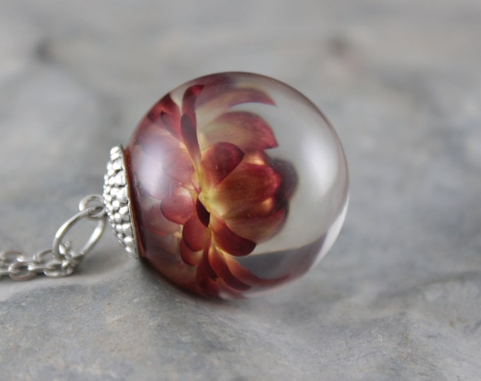 Large Red and Yellow Strawflower Necklace