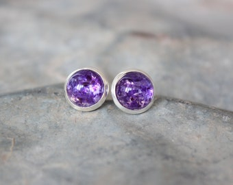 Small Purple Stud Earrings