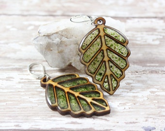 Moss and Wood Leaf Earring
