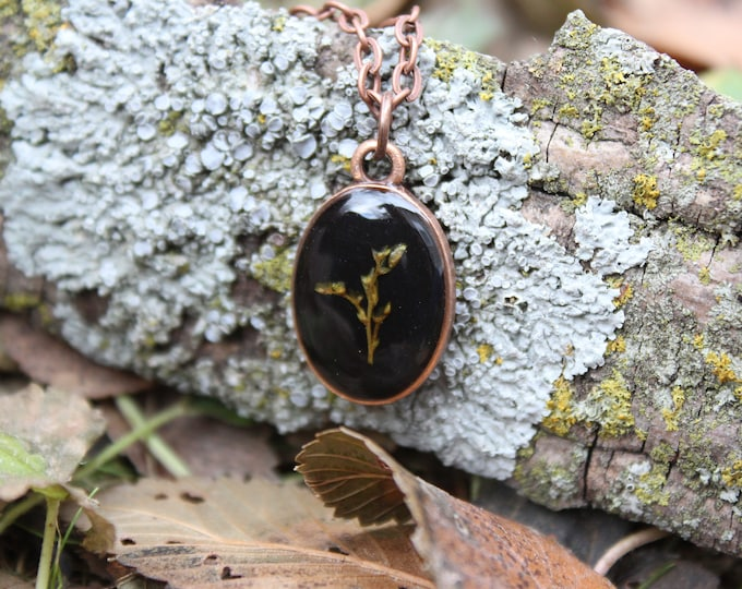 Copper Goldenrod Dainty Oval Necklace
