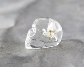 White Flower Skull Pocket Token
