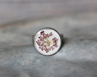 Purple Queen Anne's Lace Adjustable Ring