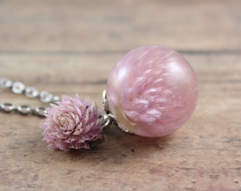 Pink Gomphrena Necklace