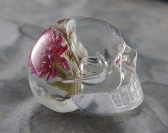 Pink Flower Bundle Skull Paperweight