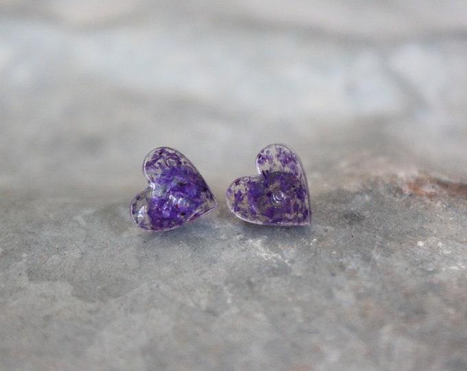 Small Purple Hearts Stud Earrings