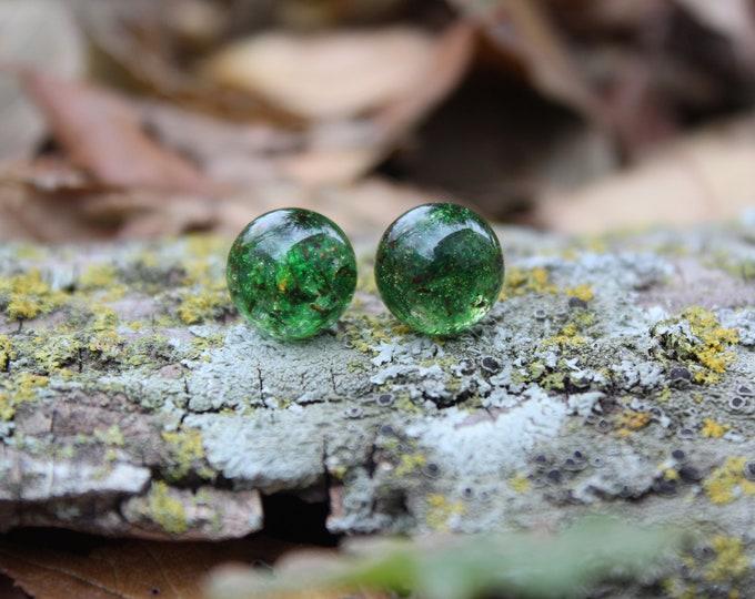Green Moss Gumdrop Earring