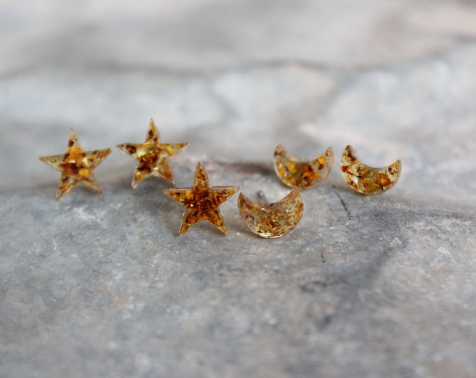 Speckled Moon and Stars Stud Earrings
