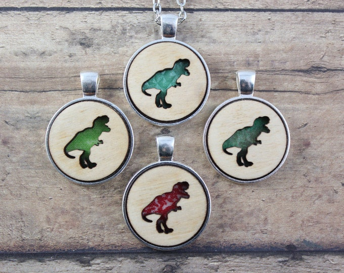 Wood and Vintage Fabric Dino Necklace