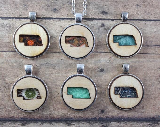 Wood and Vintage Fabric Nebraska Necklace