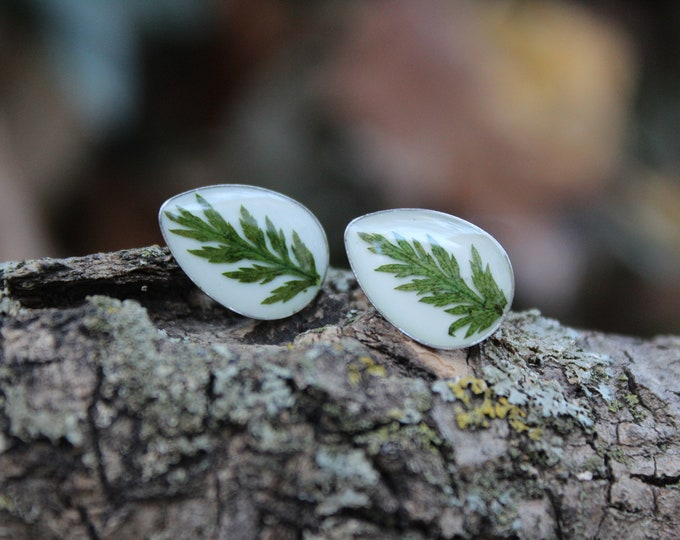 Teardrop Fern Leaf Earrings