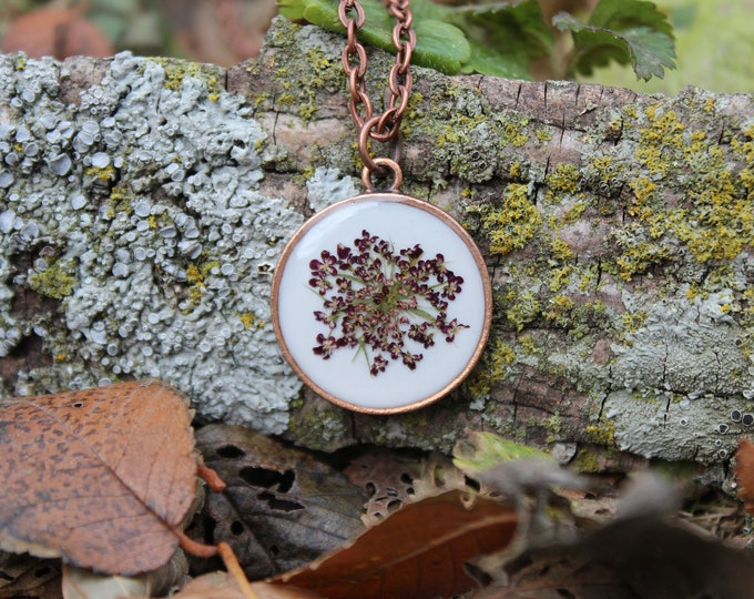 Copper Purple Queen Anne's Lace Necklace