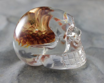 Upside Down Strawflower Skull Paperweight