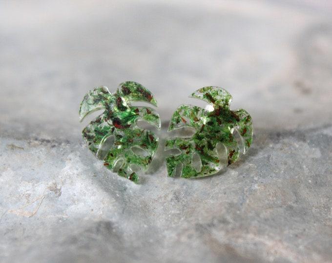 Monstera Leaf Stud Earrings