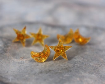 Moon and Stars Stud Earrings
