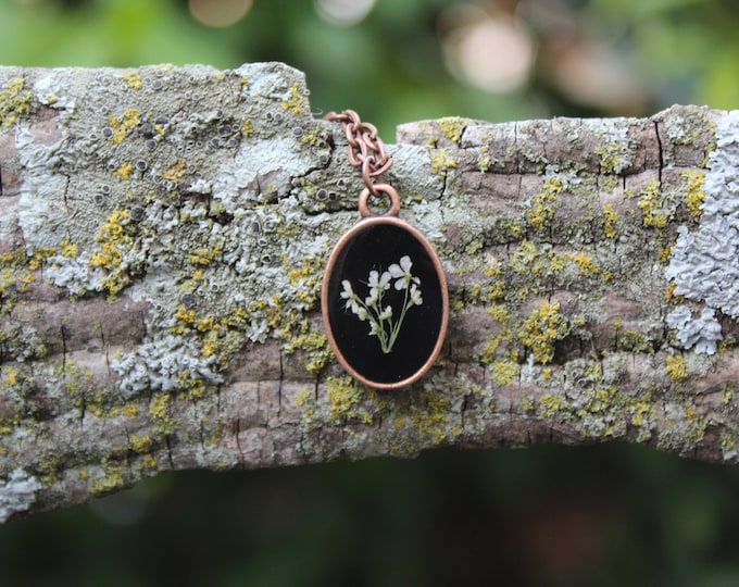 Copper Queen Anne's Lace Oval Necklace