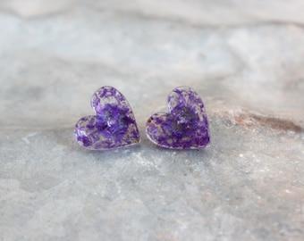 Large Purple Hearts Stud Earrings