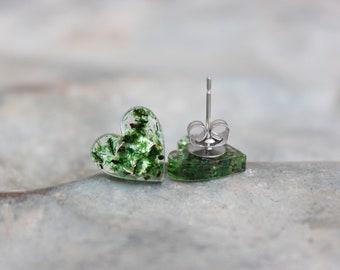 Large Green Hearts Stud Earrings