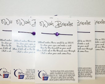 Relay For Life Wish Bracelet - Fundraising / Gift Pack of 20 bracelets on cards - Ready Go with Free Domestic Shipping