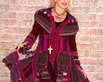 Sweater coat SC#0222, Katwise style, Katwise inspired, Upcycled sweater coat, Elf coat, Fairy coat