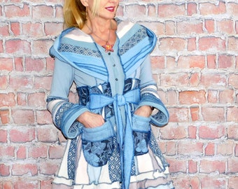 Big Dog Open Cardigan Size S-M; upcycled sweater coat womens lightweight layers hippie mens nomad jacket bohemian boho festival coat green