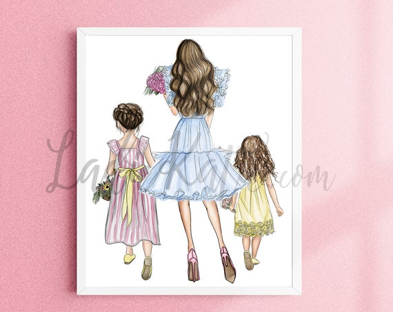 mother daughter, girl mom, flowers, spring, floral, little girl, inspirational art, easter, spring time, girly print, gifts for her