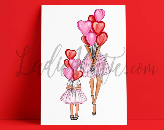 valentines day, galentine's day, mommy and me, girly art print, mom art, girls room, gifts for mom, mother daughter art, girl mom