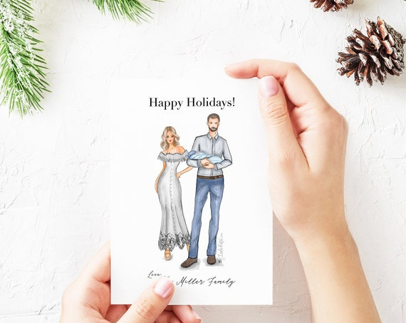 Customizable Holiday card, family holiday card, Christmas card, family picture, family portrait, family photo, family art, new mom, new dad