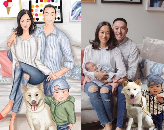 Custom family portrait, family illustration, family photo, family picture, holiday card, Christmas card, fashion illustration