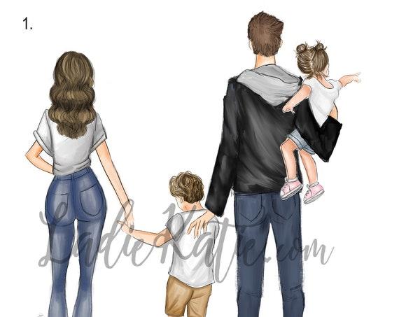 Family portrait, Family art, family photo, family illustration, holiday photo, kids room, girls room, custom portrait, mom art, dad art