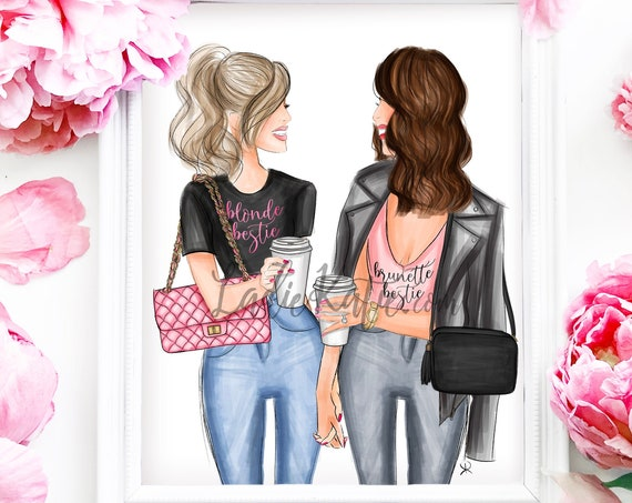 blonde, brunette, besties print, bff print, coffee, girly art, gifts for her, girly print, besties, best friend art, best friend gift